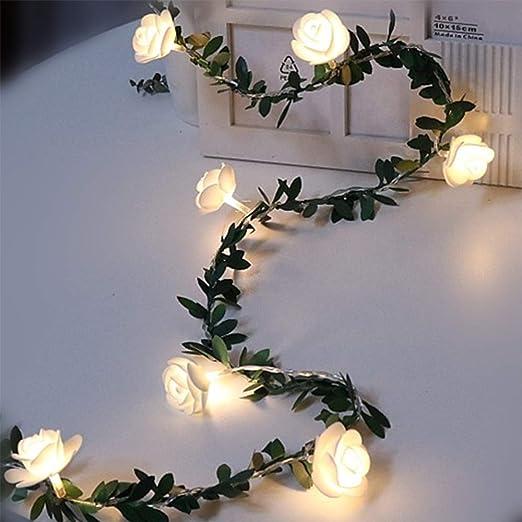 Guirnalda De Flores Artificiales Rosas Con Luces Led Blancas