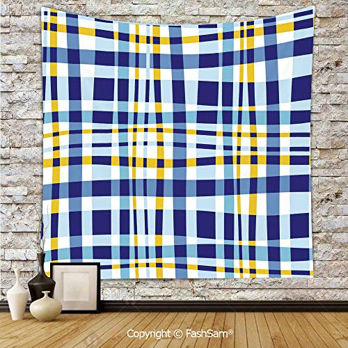FashSam Tapestry Wall Blanket Wall Decor Retro Scottish Checkered Tartan with Color Stripes Lines Pattern Home Decorations for Bedroom(W59xL90)