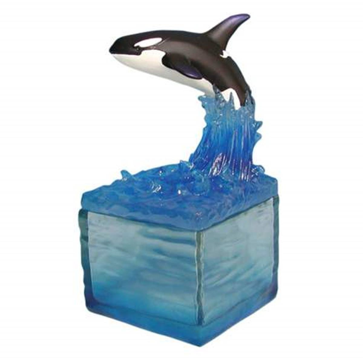 WL SS-WL-14795 Breaching Whale Riding Waves Collectible Candle Holder, 6.5''