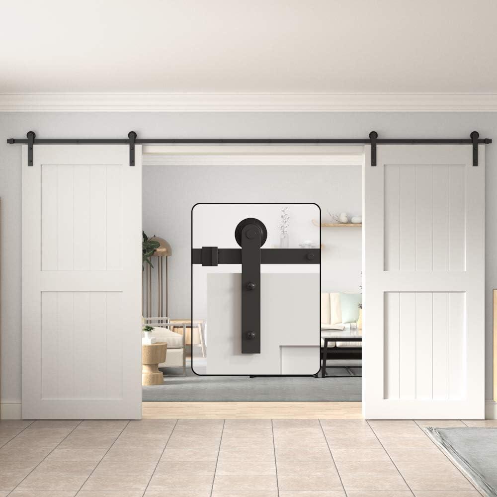 Amazon Com Winsoon Sliding Barn Door Hardware Double Door 13ft Track Kit For Interior Exterior Kitchen Cabinet Hallway Home Improvement