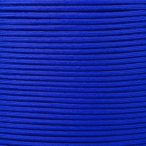 - PARACORD PLANET 750 LB Type IV Paracord Authentic Parachute Cord 11 Core Inner Strands Minimum Break Strength 750 lb 10, 25, 50, 100 Foot Hanks, 250, 1000 Foot Spools (Electric Blue, 50 Feet)