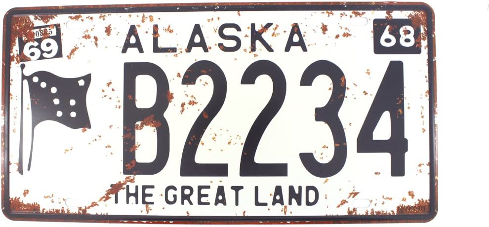 6x12 Inches Vintage Feel Metal Tin Sign Plaque for Home,Bathroom and Bar Wall Decor Car Vehicle License Plate Souvenir (Alaska The Great Land)