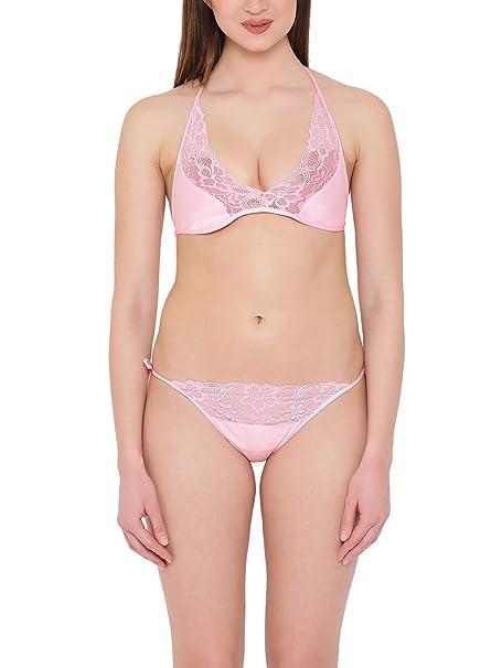 217d1e30ffe Clovia Women s Satin String Bra   Panty Set (BP1647P22 Pink Free ...