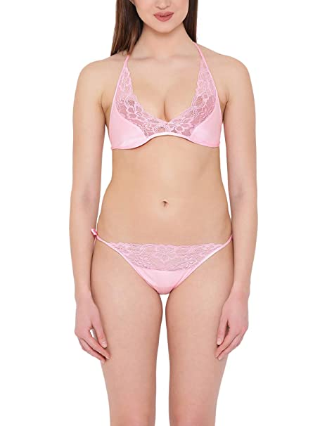 d0a397f6d1d Clovia Women s Satin String Bra   Panty Set (BP1647P22 Pink Free Size)   Amazon.in  Clothing   Accessories