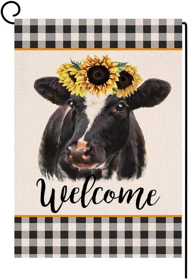 Buffalo Check Cow Farmhouse Small Garden Flag Welcome Vertical Double Sided Spring Summer Burlap Yard Outdoor Decor 12 5 X 18 Inches 172324 Garden Outdoor Amazon Com