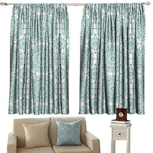 (WinfreyDecor Oriental Bedroom Balcony Living Room Curtain Mandala Ethnic Oriental Image with Ivy Swirl Lace Like Detailed Artwork Noise Reducing 63