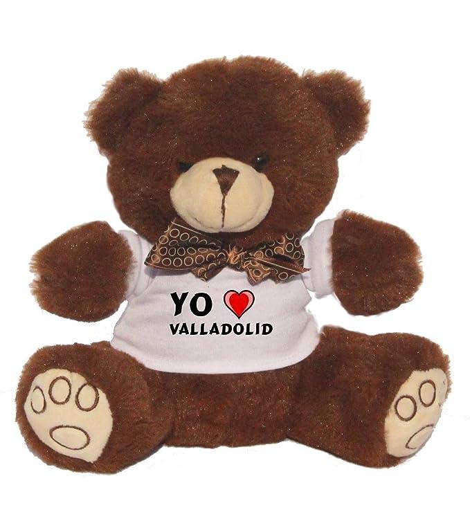 Oso marrón de peluche con Amo Valladolid en la camiseta (ciudad / asentamiento): Amazon.es: Juguetes y juegos