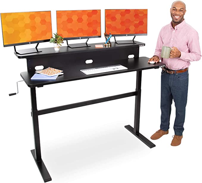 Stand Steady Tranzendesk 55 Inch Dual Level Standing Desk Easy Crank Height Adjustable Sit To Stand Desk Stand Up Workstation With Monitor Riser Great For Home Office 55 Black Kitchen Dining Amazon Com