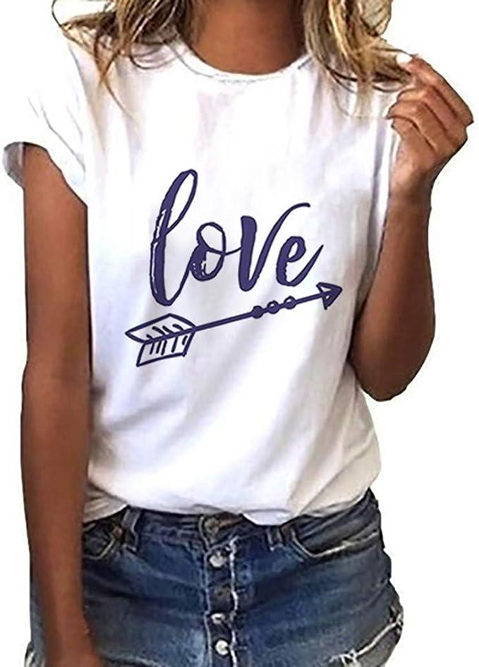 UOMOGO Maglia Magliette Donna Manica Corte Elegante T-Shirt Estive Maglietta Tumblr Camicetta Donna Casual Tops Ragazza Stampata Bluse Sportivi Cotone Stretch Maglione