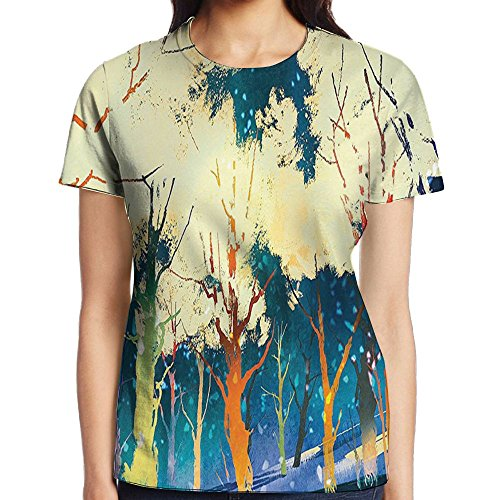 WuLion Fiction Forest with Stereoscope Trees Dimensional Vibrant Depth Women's 3D Print T Shirt S White