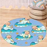 VROSELV Custom carpetBaptism Decorations Baptism Sitting Sleeping Crawling Smiling Babies On Clouds Catholic Children Party Bedroom Living Room Dorm Decor Round 79 inches