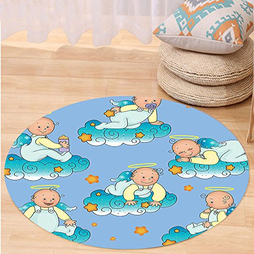 VROSELV Custom carpetBaptism Decorations Baptism Sitting Sleeping Crawling Smiling Babies On Clouds Catholic Children Party Bedroom Living Room Dorm Decor Round 79 inches by VROSELV