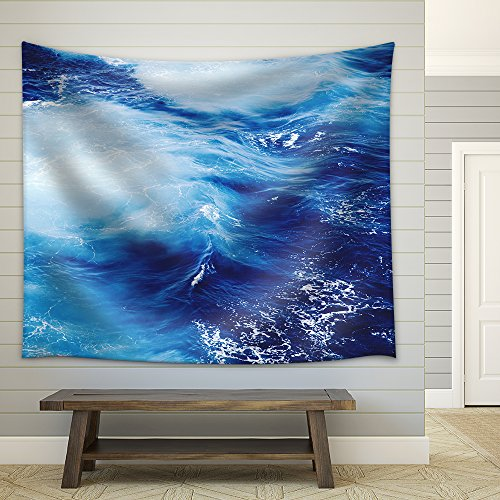 Blue Ocean Waves Fabric Wall