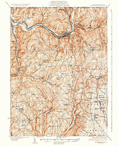 (YellowMaps Susquehanna PA topo map, 1:62500 Scale, 15 X 15 Minute, Historical, 1935, 19.8 x 16 in - Tyvek)