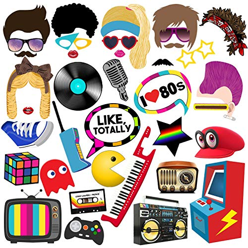 BizoeRade 80s Photo Booth Props, 38pcs 1980s Party Photo Booth Props for 80's Theme Party, 80s Party Decorations and Favors Supplies ()