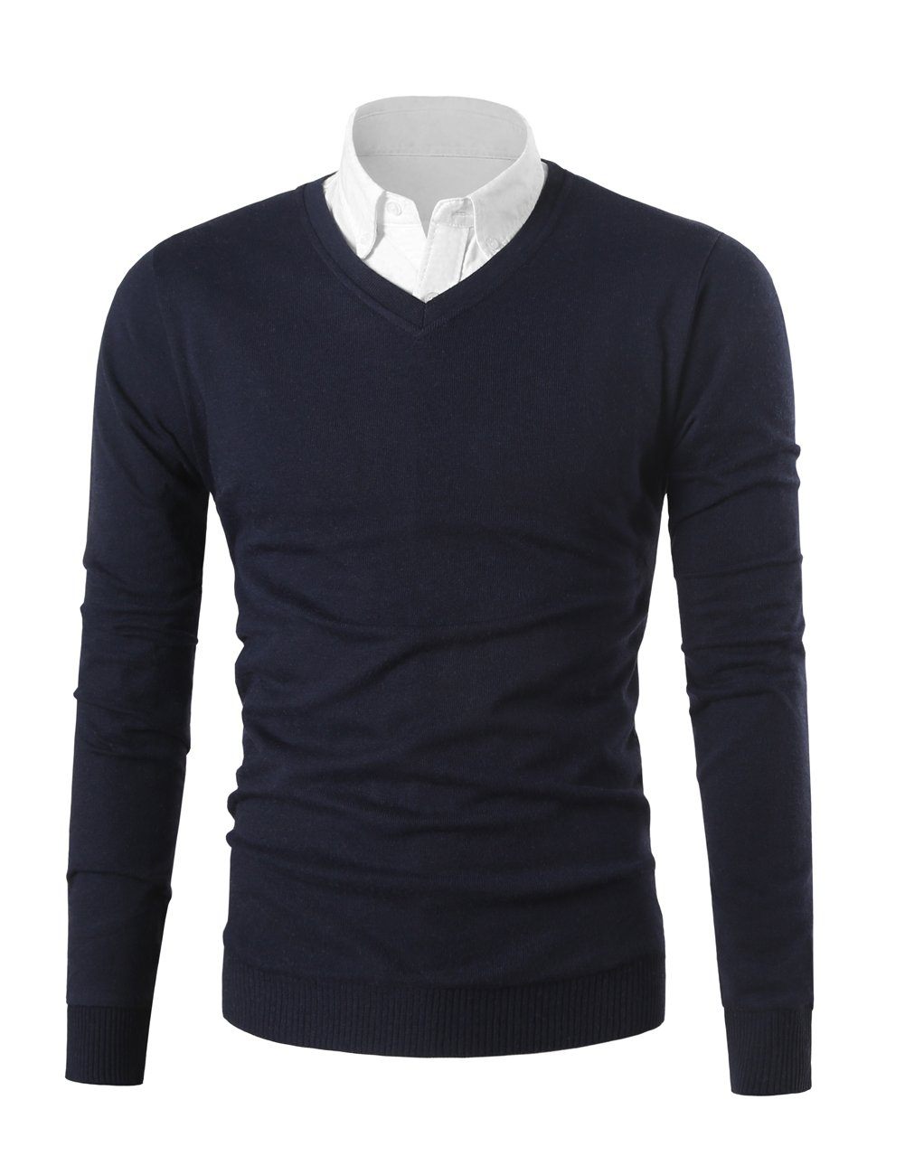 Mesahara Mens Casual Slim Fit Knit V-Neck Pullover Sweater (M, Navy Blue)