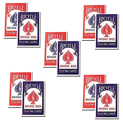Bicycle Bridge Standard Index Playing Cards - 5 Red Decks and 5 Blue Decks