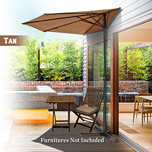 BenefitUSA Half Patio Umbrella Wall Balcony Halfrund Sunshade Market Yard Garden Outdoor Parasol with Stand (10', Tan) Parasol Stand