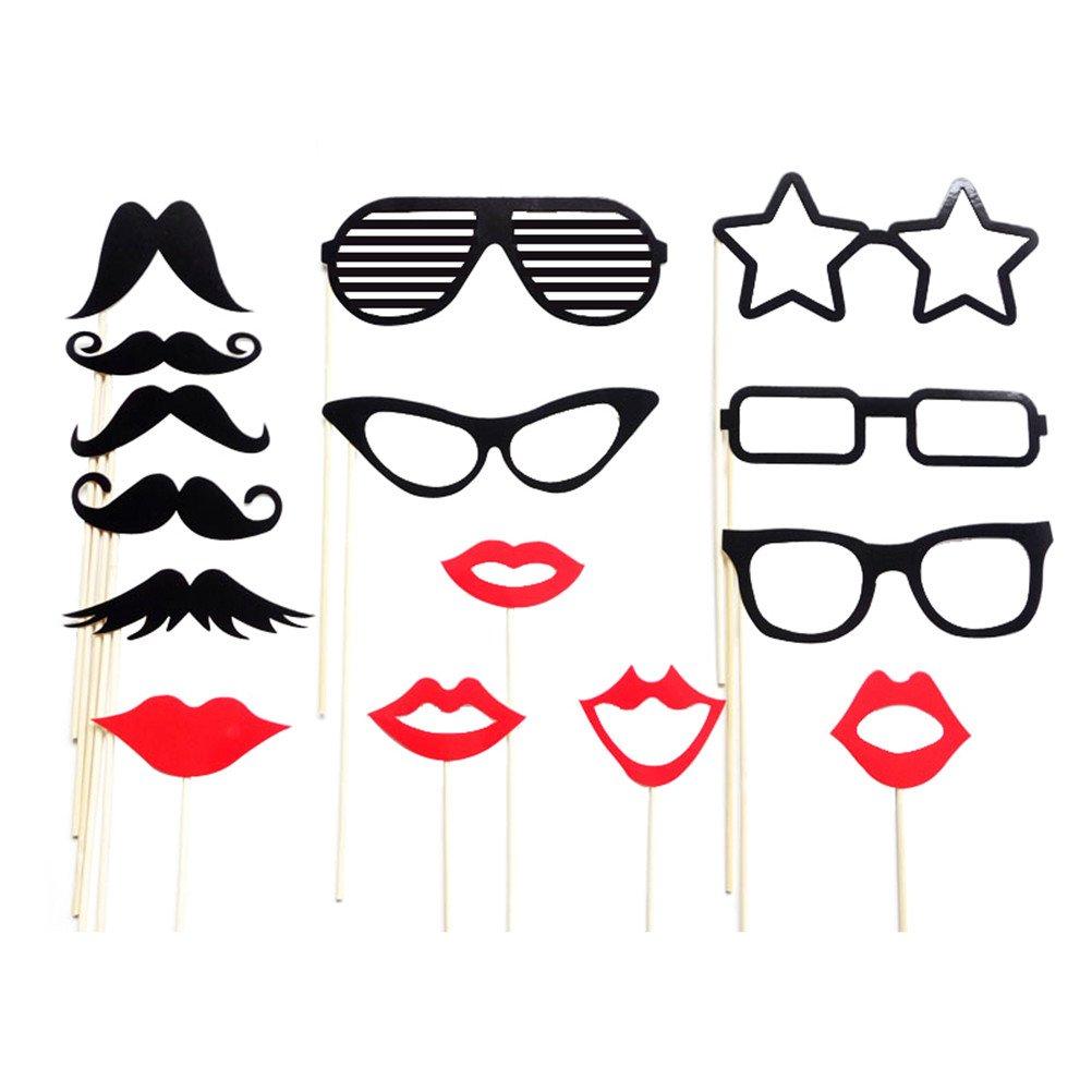LUOEM Photo Booth Barba Bigote Gafas Labios Estrella Decoració n para Fotografí a Boda Party Cumpleañ os Wedding 15 Piezas