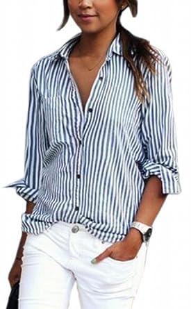 030b149170 Zago Womens Oversized Comfort Style Top Pinstripe Button Down Tee Shirt 1 XS