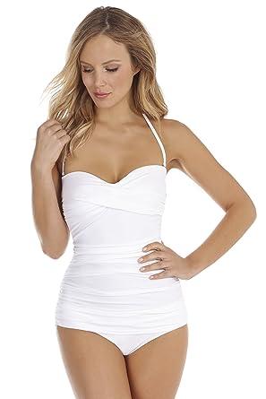 956c29ff18 Seaspray Womens Just Colour Bandeau Swimsuit White  Amazon.co.uk ...