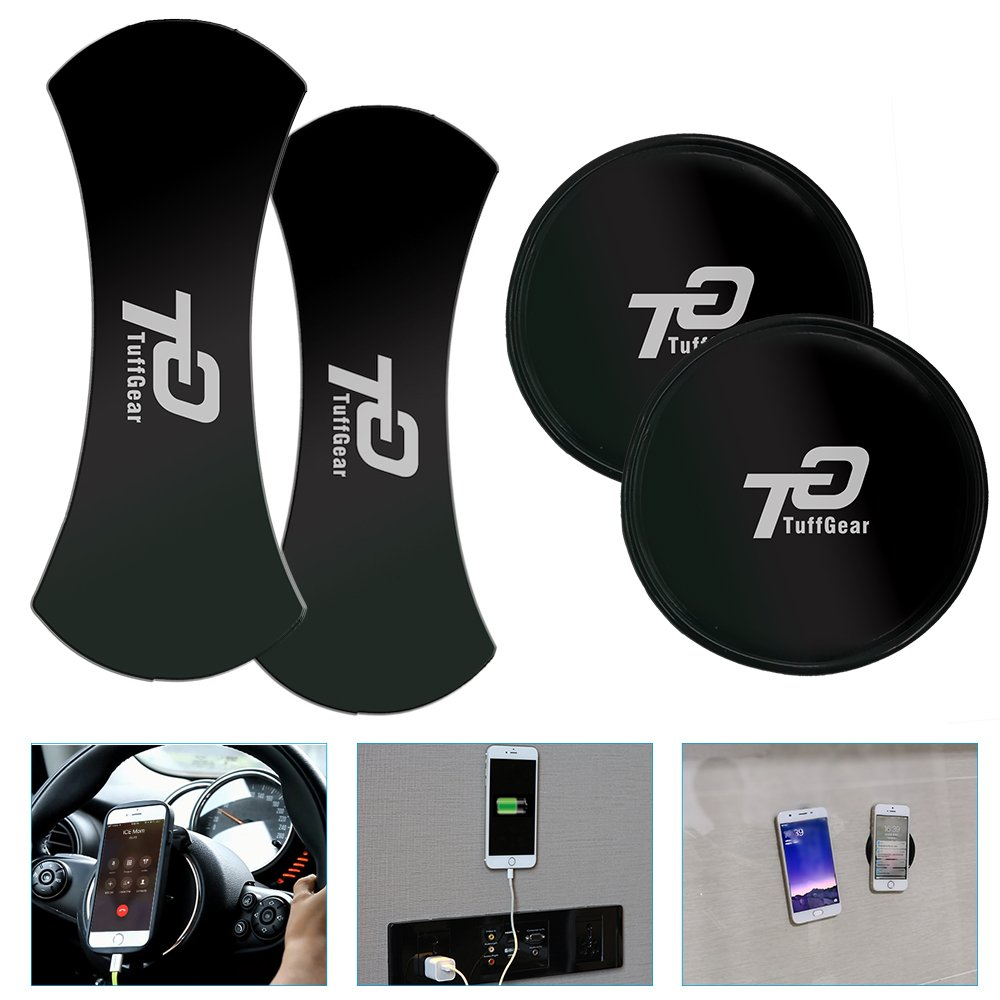 No Trace Multi-Function Mobile Phone Holder Car Kits Bracket Pods Keys 4 Pack Pad TuffGear Nano Rubber Pad//Stand Anti-Slip Mat Stick to Anywhere,Sticky Auto Gel Holder for Cellphone