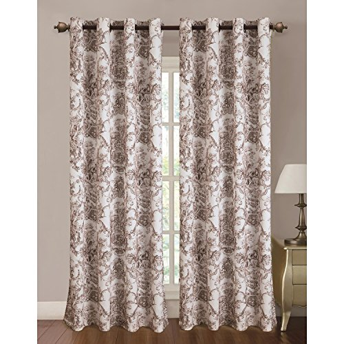 RT Designers Collection Toile Printed 110 x 84 in. Grommet Curtain Panel Pair, (Brown Toile Window Panels)