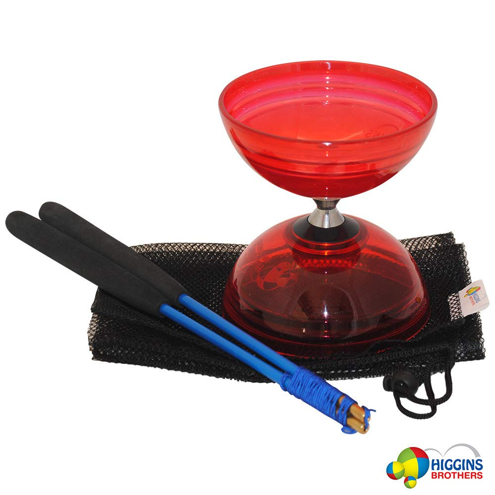 Higgins Brothers Raider Triple Bearing Diabolo Set with Fiberglass Handsticks and Mesh Carry Bag