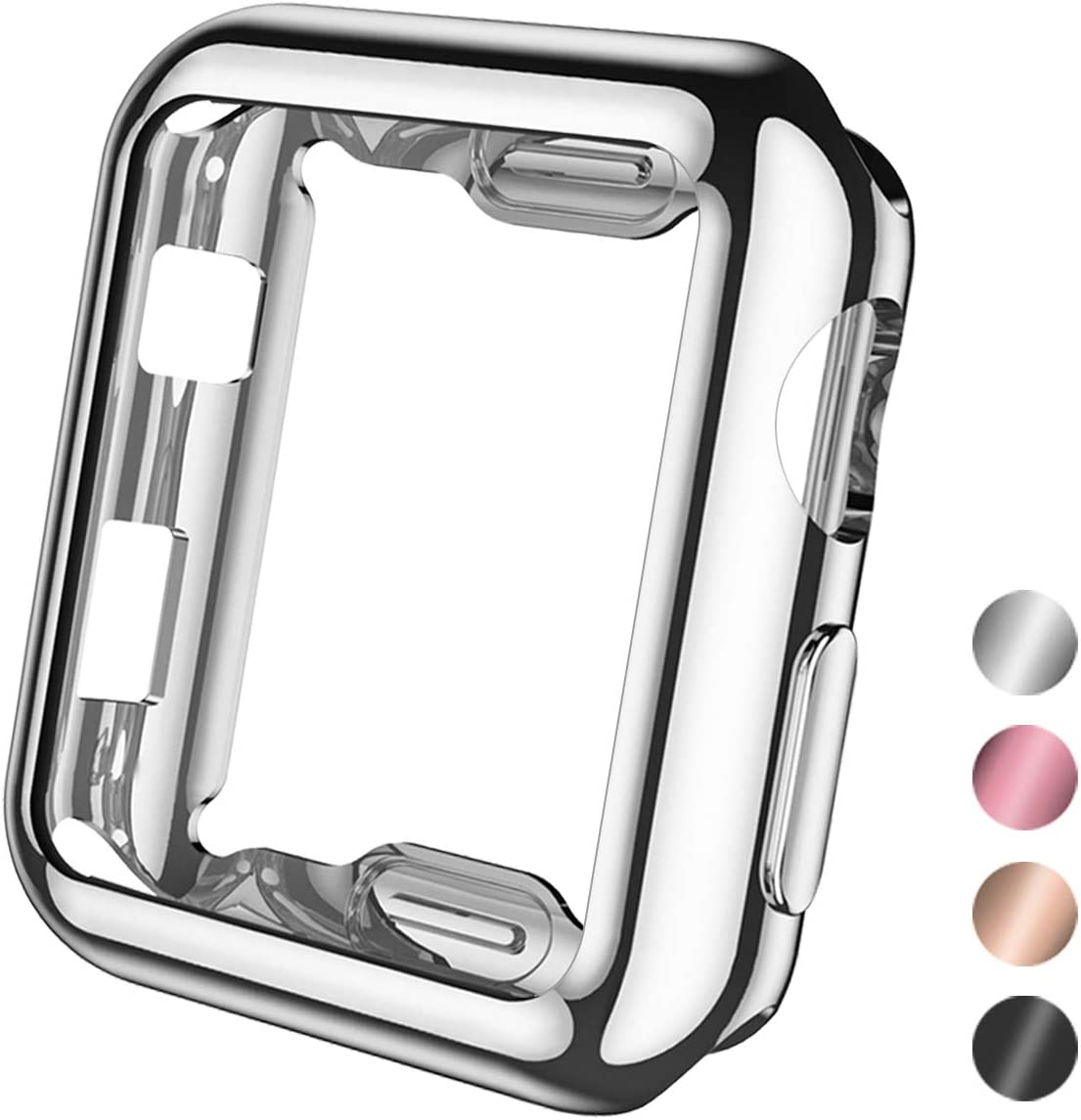 Henva Compatible with Apple Watch Case 38mm Series 3, Series 2, Series 1, Soft Overall Protective Case Ultra-Thin TPU Cover Compatible for iWatch 38mm Series 3 2 1, Silver