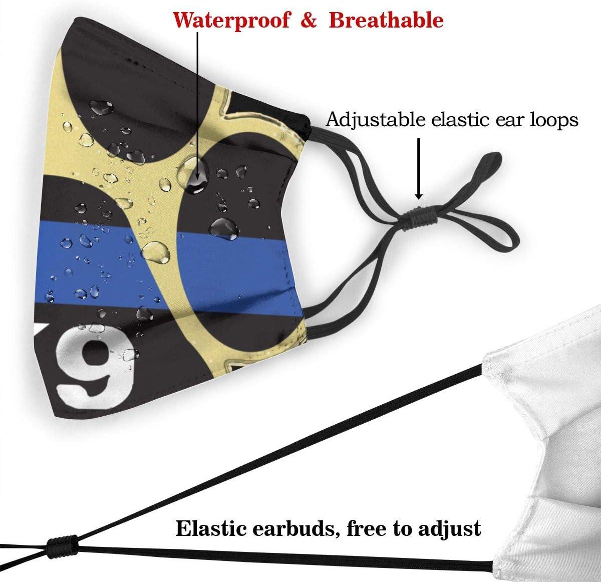 K-9 Unit Thin Blue Line Paw Unisex Moda Maschere Protettive Viso Anti Polvere Cotone Maschere Bocca Regolabile Sostituibile Lavabile S