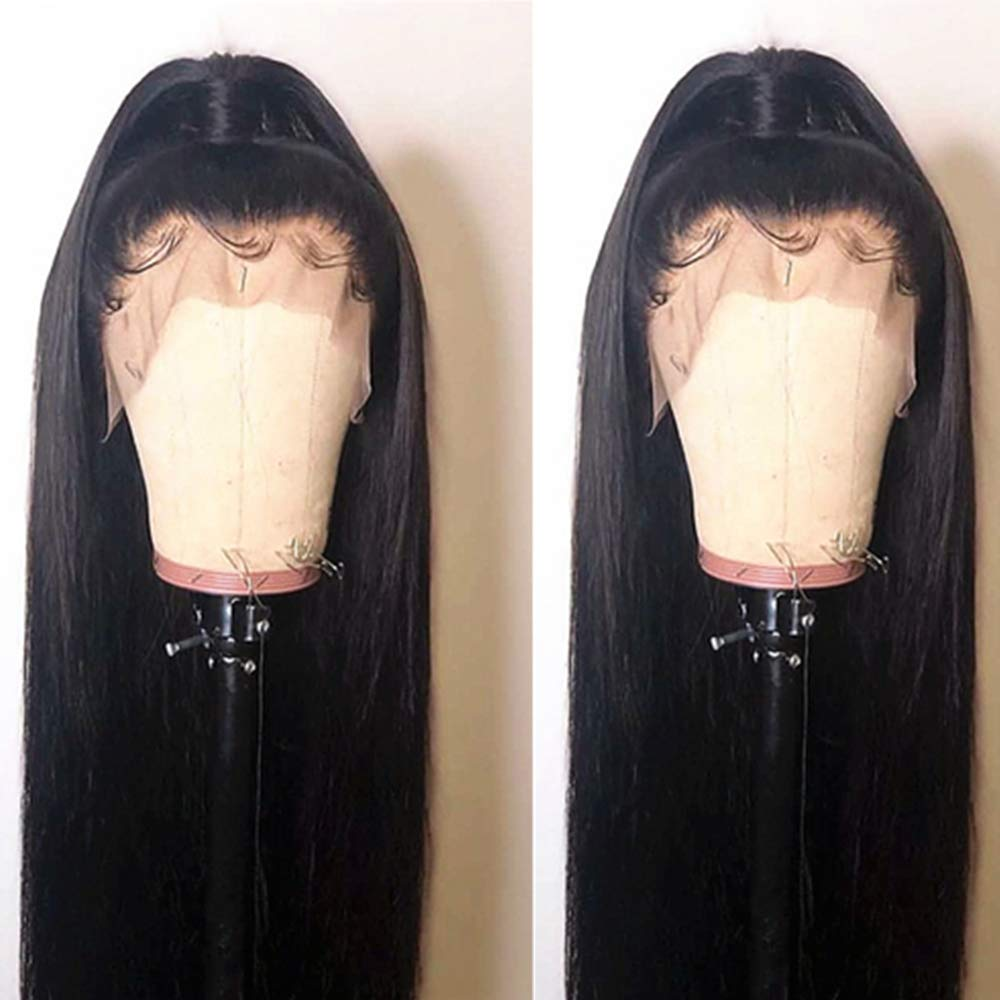 BEEOS 9A 360 Lace Frontal Wig with Baby Hair,150% Density Pre Plucked and Bleached Knots 9A Brazilian Virgin Remy Human Hair Straight Wigs (22 inch) by BEEOS