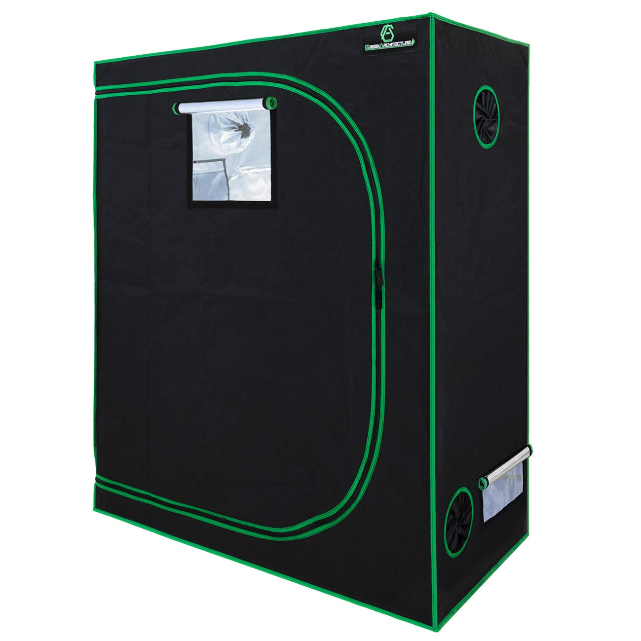 GA 48 x24 x60 Reflective Mylar Hydroponic Grow Tent with Observation Window and Waterproof Floor Tray for Indoor Plant Growing 4×2 4.5×4.5 4×2