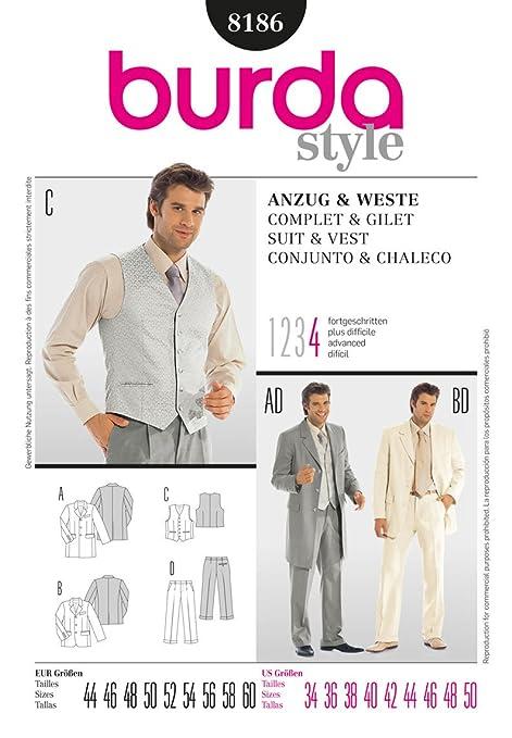 Burda Mens Sewing Pattern 8186 - Classic Suit & Waistcoat Sizes: 34 ...