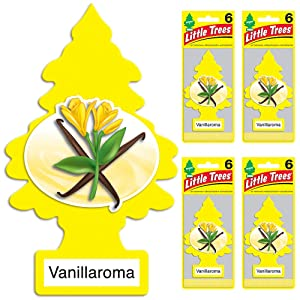 LITTLE TREES Car Air Freshener | Hanging Tree Provides Long Lasting Scent for Auto or Home | Vanillaroma, 6-packs (4 count)