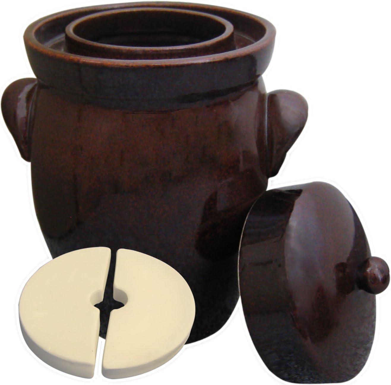 Kerazo - 5L (1.3 Gal)K&K Keramik German Made Fermenting Crock Pot, Kerazo F2