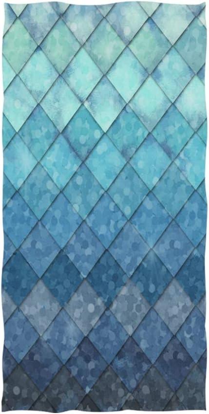 ZOEO Mermaid Hand Towel Ocean Blue Teal Mermaid Fish Scales Geometric Rhombus Dish Towels Cotton Face Towel Bath Decor Set for Girls 30x15 inch Gym Yoga Towels