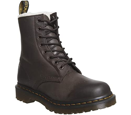 7bd7b31a2e89e Dr. Martens Women s Serena Burnished Wyoming Leather Dark Brown ...