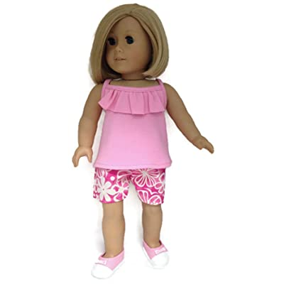 Doll Clothes Fits American Girl Doll Pink Tank top with Ruffle and Pink Floral Shorts: Toys & Games