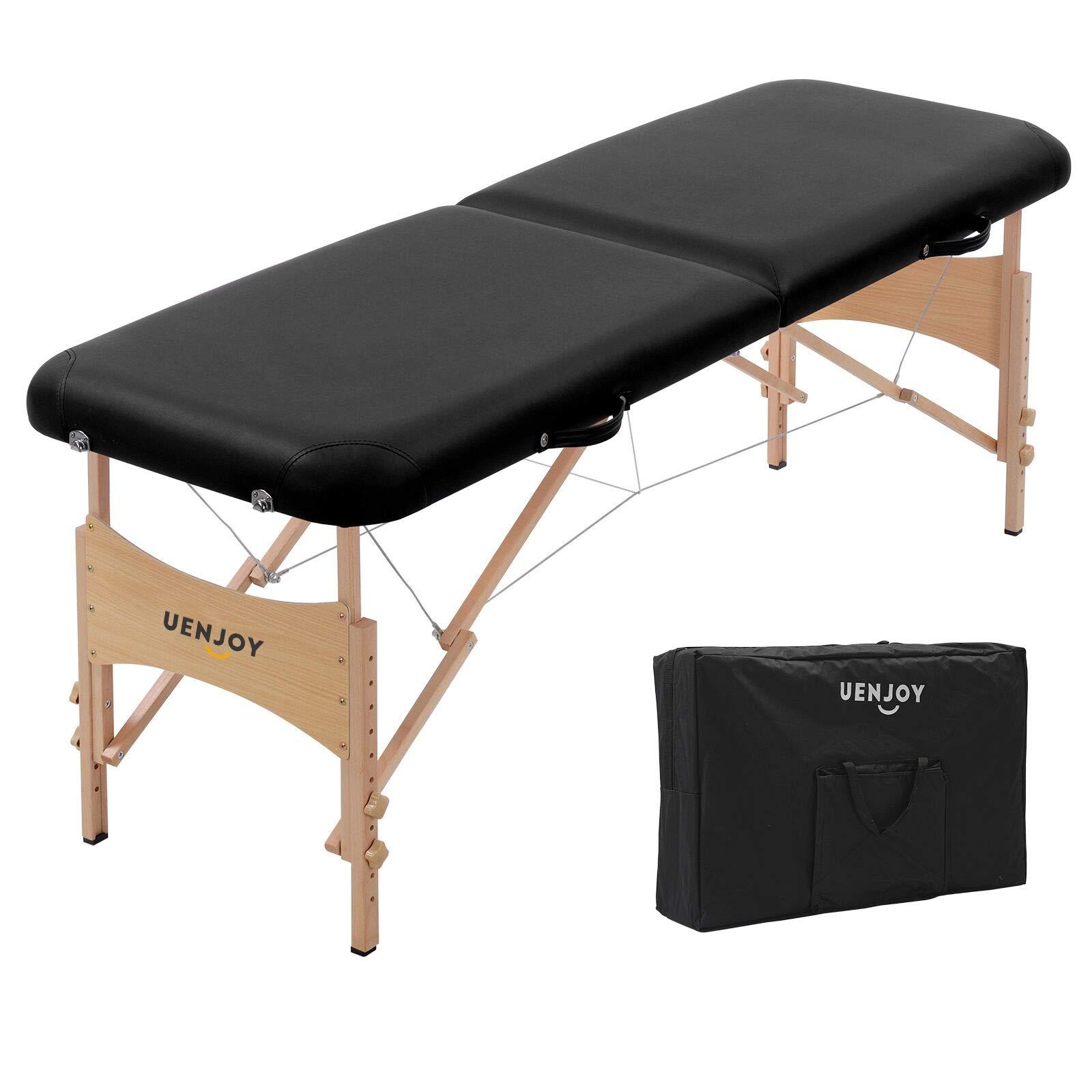 Uenjoy Massage Bed 72'' Professional Folding Massage Table 2 Fold, Basic & Portable, Black