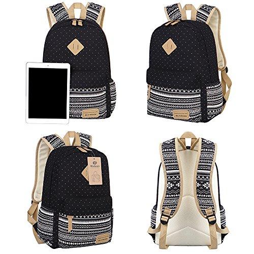 Teens Backpack Set Canvas Girls School Bags, Bookbags 3 in 1 (Polka Dot Black)