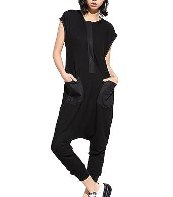 9e206f19bd Amazon.com  ELLAZHU Women Sleeveless Black Slim Leg Harem Jumpsuits Rompers  GY867  Clothing