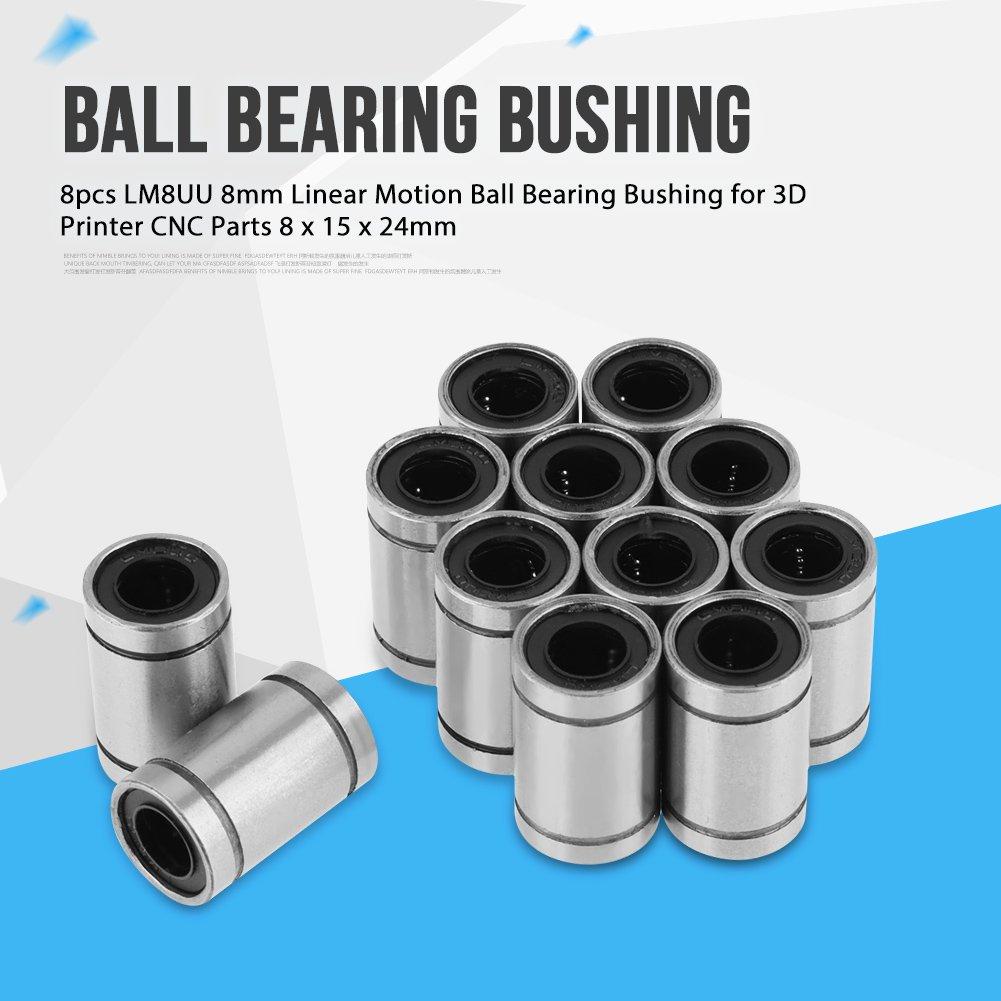 12 piezas LM8UU Casquillo de rodamiento de bolas de movimiento lineal de 8 mm para impresora 3D Piezas de CNC 8 x 15 x 24 mm rodamientos eje Cojinete deslizante Casquillo de rodamiento de bolas