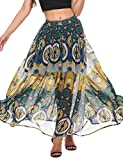 Meaneor Chiffon Beach Printed Skirt High-Waist Maxi Skirt S-XXL