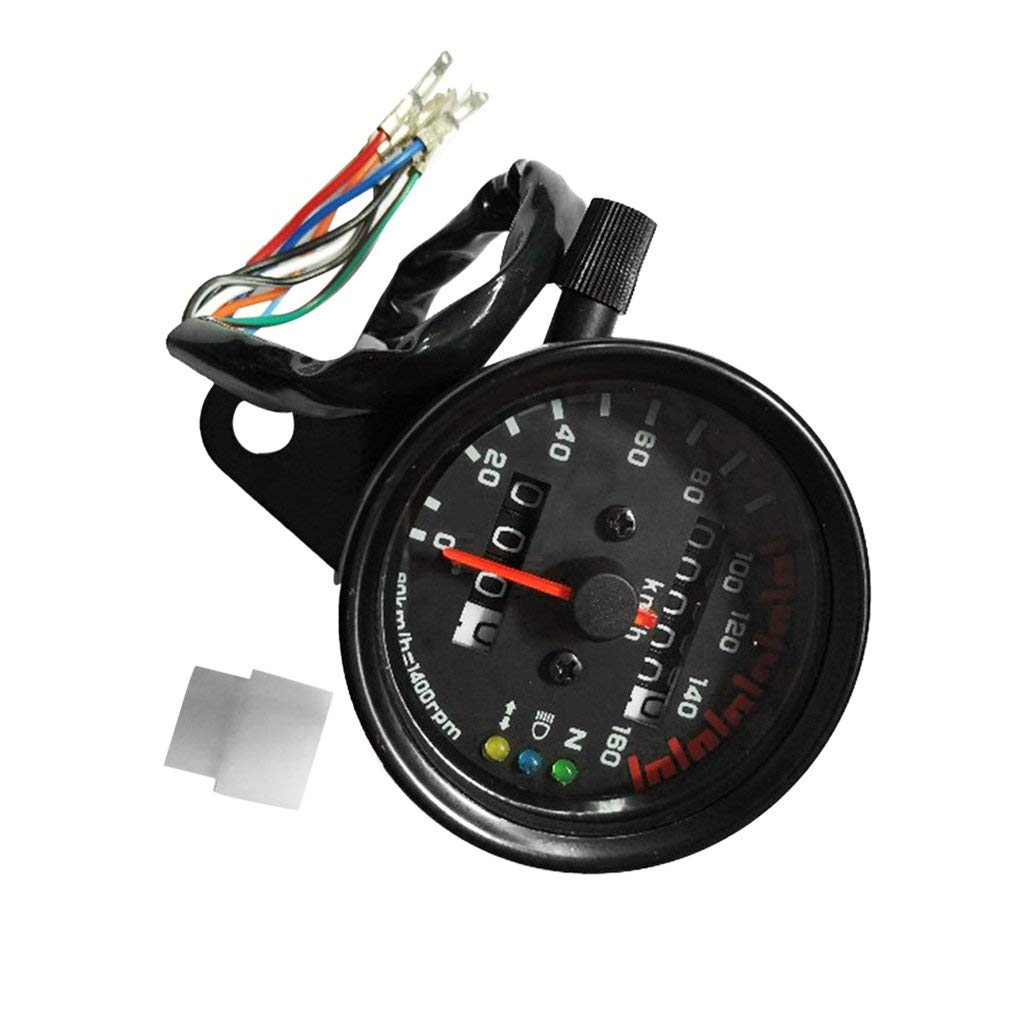 Universal Motorcycle Speedometer Odometer Gauge Dual Speed Meter with LCD Indicator Vintage Modification Accessory