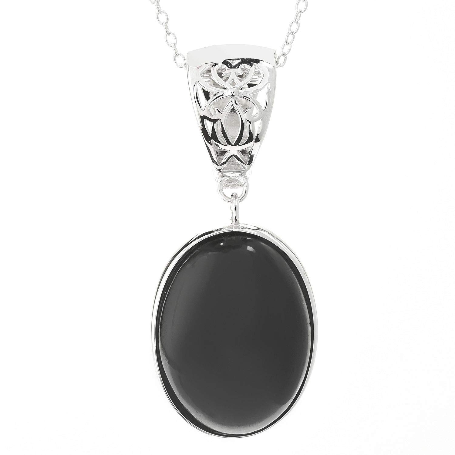 Pinctore Sterling Silver 20 x 15mm Oval Black Spinel Enhancer Pendant w// 18 Chain