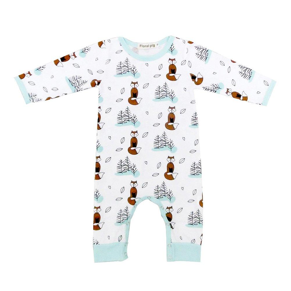 Recién nacido Unisex Baby Cute Fox patrón Pelele Bodysuit Mono trajes manga larga ropa blanco blanco Talla:6-12M: Amazon.es: Bebé
