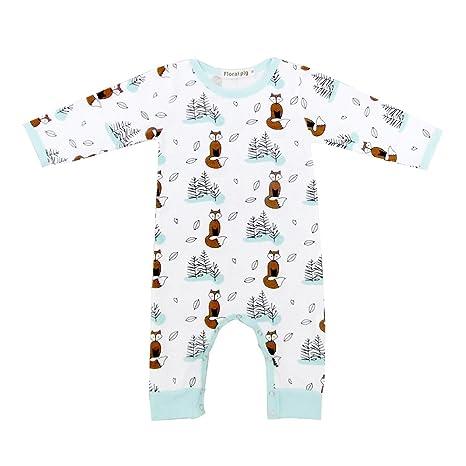 Recién nacido Unisex Baby Cute Fox patrón Pelele Bodysuit Mono trajes manga larga ropa blanco blanco