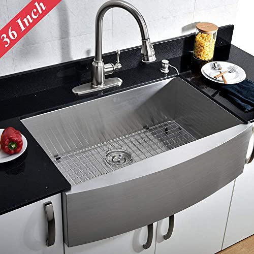 VCCUCINE 36 Inch 16 Gauge Apron Front Brushed Nickel Farmhouse Kitchen Sink, 10 Inch Deep Drop 304 Stainless Steel Single Bowl Sink with Dish and Drain Assembly