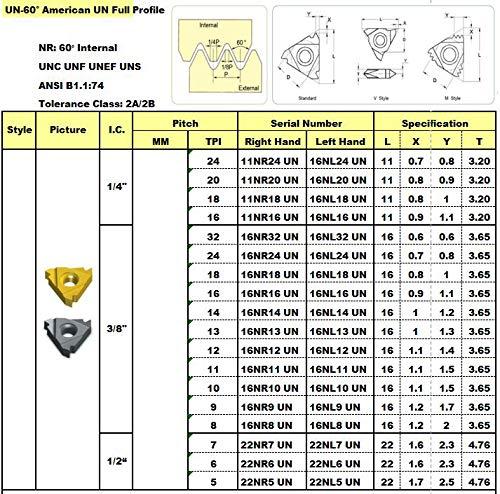 14 TPI Carbide TIALN-Coated; 16NR14UN-A10 MAXTOOL 10PCs 16NR14UN Internal American UN Full Profile Indexable Threading Inserts 3//8 I.C