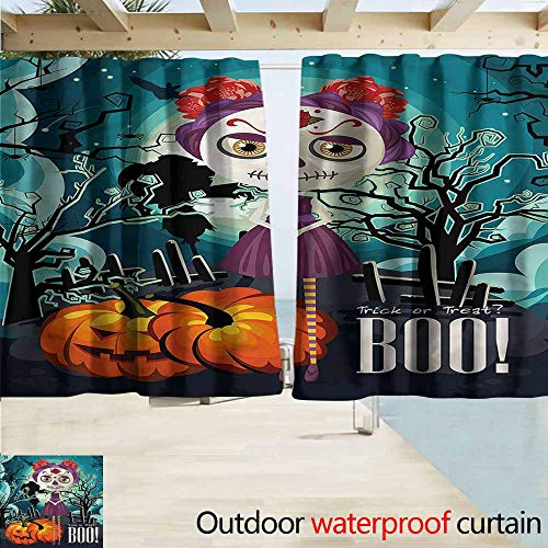 MaryMunger Thermal Insulated Blackout Curtains Halloween Girl Sugar Skull Makeup Simple Stylish Waterproof W63x63L Inches